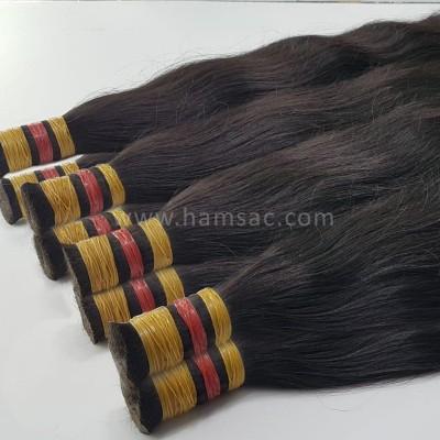 Ham Saç Doğal 50-53 CM - İşlem Görmemiş Koyu Kestane Saç
