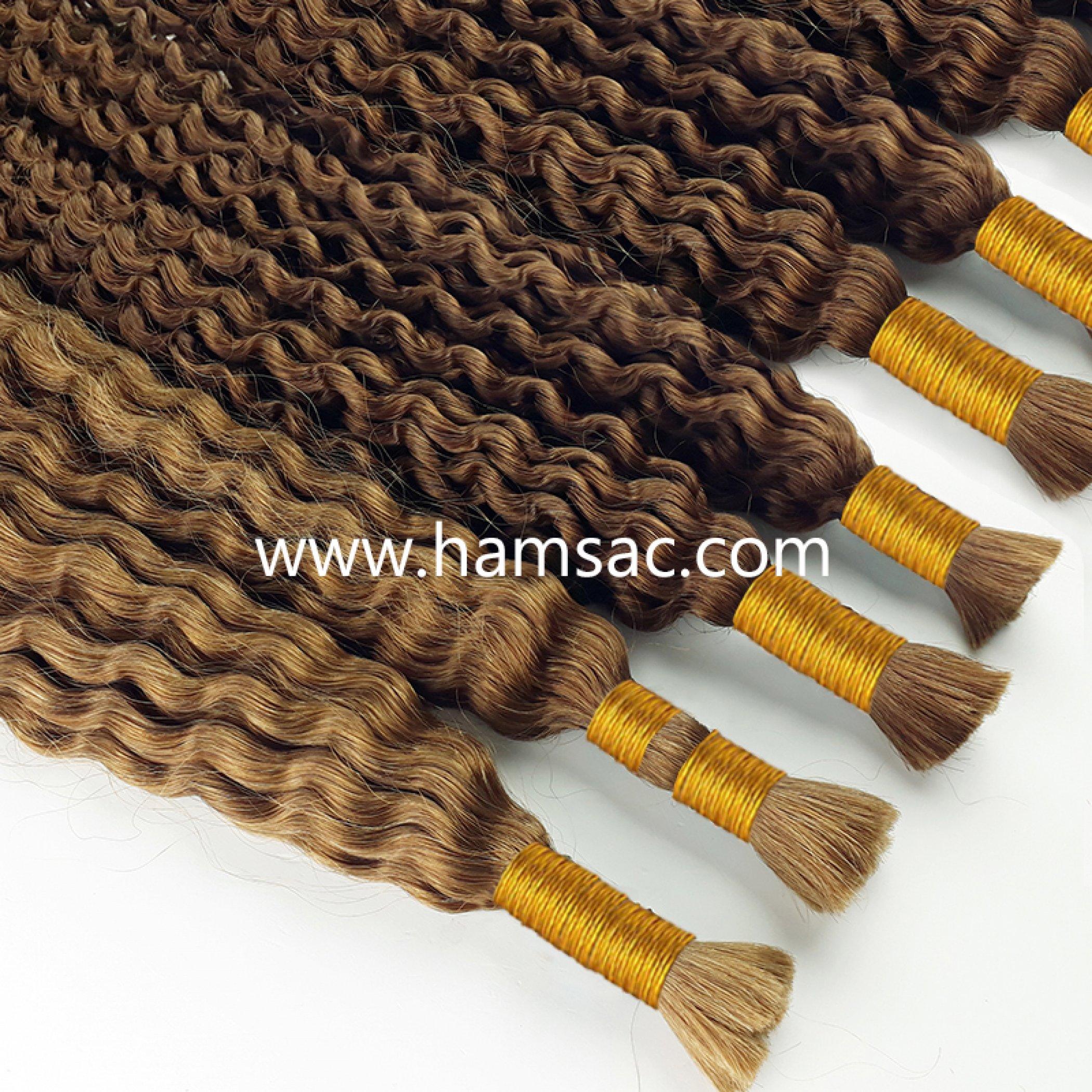 57 cm Permalı kıvırcık Saç  Doğal Ara Ton Boyasız Saçlar